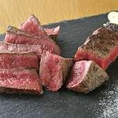 滑らかな肉質とジューシーな赤身の美味しさが存分に味わえる『もも肉のステーキ』 (150g)