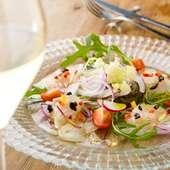 厳選鮮魚のカルパッチョ 河北イタリア野菜