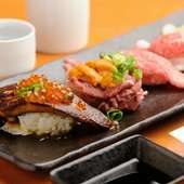 肉寿司食べ比べ(フォアグラ・A5神戸牛・黒毛和牛・生うに牛肉巻き)