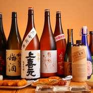 『牟禮鶴』『百年の孤独』などの麦焼酎、『紅椿』『富乃宝山』などの芋焼酎のほか、日本酒や梅酒など人気のお酒がそろっています。今後は、女性のお客さま向きに、ワインも提供していく予定だそうです。