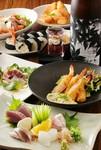 四季折々のSikiの料理とお酒、お刺身三種盛り、人気の甘味まで付いた全9品のコースとなっております。