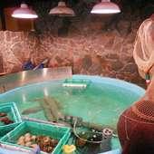店内にある生簀から挙げられた、活魚、貝をお楽しみ頂けます
