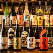 全国各地より入荷する日本酒や焼酎は、季節の限定品も