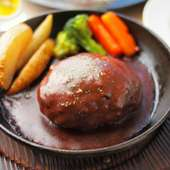 手作りハンバーグ デミグラスソース(サラダ・ライスor手作りパン付)