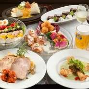 DKスタンダードプランは、2時間飲み放題に、前菜3種のプレートと他に料理が4品、デザート1品が付いて4500円とお得。ビールにあうボリューム満点の料理が並びます。コースメニューは年に4回変わります。