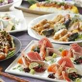 バリエーション豊富な料理を囲んで盛り上がる歓送迎会