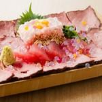 宴会にぴったりの贅沢なプラン『イベリコ豚』×『三崎マグロ』のSNS映えも抜群な看板メニュー映え肉マグロ付
