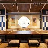 和と洋の空間が融合した、和モダンな趣の店内。プライベートな時間を過ごせる個室と開放感あふれるテーブル席があり、シーンに合わせて利用ができます。いつもより少し贅沢な気分になれるランチもおすすめ。