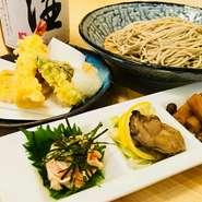 前菜三点盛り、天ぷら、蕎麦(もり 又は かけ)、甘味