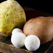 世界中から集まる食材は、料理の生命線。静岡・長谷川農産ジャンボマッシュルームやベルギー産セルリラヴなどの珍しい野菜、カナダ大西洋沿岸のオマールなどの輝きに満ちた独創的な一皿を創り出しています。