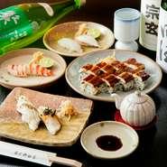 車海老、タコ、鯛、穴子…。明石でとれる季節の魚を丁寧に仕込み、握られる寿司。なかなか手に入りにくい貴重な「明石鯛」は、店主自ら目利きして仕入れる上質な物。地元だからこそ味わえる至高の一皿です。