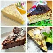 ガトーショコラ、バスク風チーズケーキなど豊富なスイーツ