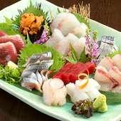 厳選食材の『鮮魚の盛り合わせ』
