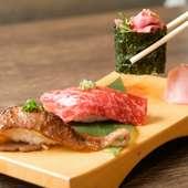 「赤身」「ユッケ軍艦」「炙り」が楽しめる『肉寿司三種盛り合わせ』