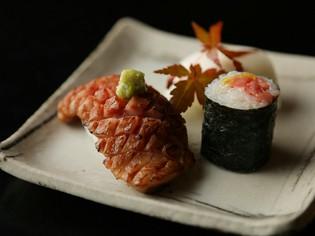 和牛本来の味と香りを引き出した『和牛鹿の子炙り寿司』