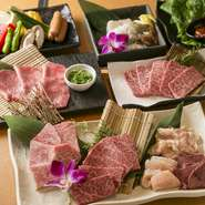 肉の卸売り直営店ならではの良質なお肉が食べられる、コストパフォーマンス抜群ながらボリューム満点のセット。『おすすめ塩赤身』や『上カルビ』、『上ロース』など、やわらかくて脂身の甘さが際立つ逸品揃いです。