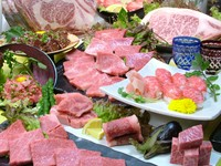 脂の旨み、とろける食感を満喫できるコース。A5ランク黒毛和牛の希少部位も付いて、お手頃感があります。全15品。