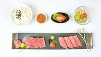 A5黒毛和牛「カルビ」・A5黒毛和牛「ロース」・特製白菜キムチ・サラダ・ライス