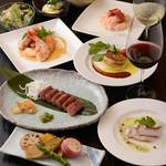 海鮮2種やA3厳選和牛のサーロインステーキをはじめ明太子のクリームリゾットなども楽しめる大満足のコース