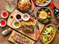 人気No.1肉宴会プラン!メインの牛ハラミのグリルステーキは絶品!3種の自家製ソースでお楽しみ下さい♪