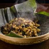 漬物の滋味深い味わいで大豆の甘みが際立つ『発芽大豆ささげ漬物挽肉の炒め』