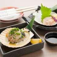函館漁港から空輸した新鮮な「ホタテ」を丸ごとバター焼きに。芳ばしい香りが食欲をそそります。食材の味を活かしたシンプルな料理をご堪能ください。