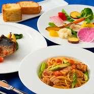 旬の食材を使用し食材で季節を感じれるコース お野菜のフォンデュ・前菜・パスタ・メイン・デザートカフェ自家製パンも付いてとてもお得なコースです
