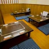 落ち着いた半個室の小上がり席は、最大15名様まで入室可能