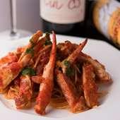 蟹の味わいが凝縮された『渡りガニのトマトパスタ』