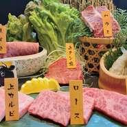 「米沢牛」や「山形牛」の上タン、ハラミ、ロースなどを味わえるお任せ盛りです。良いものをお得に堪能できるひと皿です。