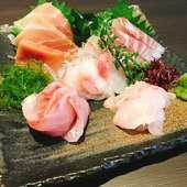 新鮮で美味しい海の幸は、小田原から直送! イキイキした鮮魚が彩る逸品『お刺身5点 盛り合わせ』
