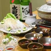 旬の鮮魚を鍋のコースで