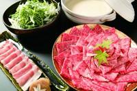 特選牛肉2種、サラダ、野菜、うどんor御飯、ナムル、自家製豆乳アイス