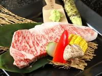 Tボーンステーキ、肉寿司(一人前/3貫)、サラダ、小鉢、スープ