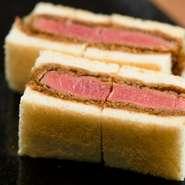 和牛ヒレ肉の中でも更に肉質の良いシャトーブリアンを贅沢にカツサンドにしました。パンは厳選した少し甘めのブリオッシュを使用。シャトーブリアンのカツとソース、ブリオッシュが相まって旨味が口に広がります。