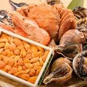 店主自ら目利きした北海道の魚介類