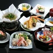 ・前菜        ・かに茶碗蒸し・かに天ぷら     ・かにすき小鍋・かに寿司      ・デザート