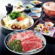 前菜 神戸牛しゃぶしゃぶ 御飯 香の物 赤出汁 デザート