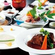 前菜・椀物・造り・牛ほほ柔らか煮・御飯物・デザート