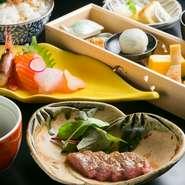 旬季の前菜盛り合わせ、造里三点盛り、煮物、肉料理、食事、香の物、椀物、本日のおすすめデザート盛り合わせ