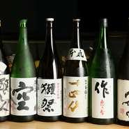 地元、愛知県でつくられる銘酒や、季節の銘柄などを中心に取り揃えています。貴重な「十四代」や「獺祭」、また伊勢志摩サミットで出された「作」も用意されていて、日本酒好きな方必見です。