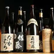 料理に合わせ、焼酎も芋・麦、を中心に、20種類程取り揃えられています。季節の貴重な銘柄も入荷するので、足繁く通いたいところ。美味しい寿司と焼鳥、そして美味しいお酒で、楽しさも倍増です。