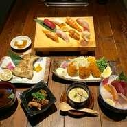 メ~テレさん「UP」、「デルサタ」でご紹介いただきました! ・飛騨牛ロース陶板焼き ・お刺身盛合せ ・本日の一品 ・名物!穴子一尾にぎり ・お寿司(5品) ・茶碗蒸し ・小鉢 ・おみそ汁 ・デザート