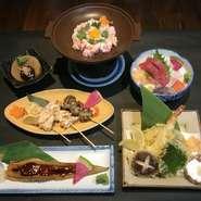・お刺身盛合せ ・かにみそ陶板焼き ・天ぷら盛合せ・串焼(3本) ・名物!穴子一尾握り ・小鉢