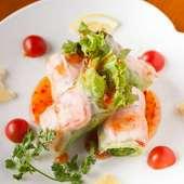 自家栽培の旬の野菜が香る『海老の生春巻き』