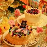 大切な人のお誕生日や、記念日などにはアニバーサリー対応の、コース注文がおすすめ。メッセージ入りのケーキや、デザートプレートを用意してくれます。もちろんコース以外でも注文は可能です。