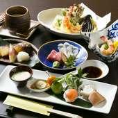 その日のおすすめを盛り込んだ『和食のコース』 4500円~