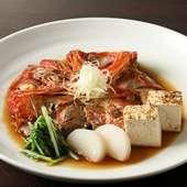 「お通し」は地物の金目鯛を使った『金目鯛のカブト煮』