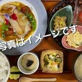 お任せ定食「肉、魚」どちらかお選びください。