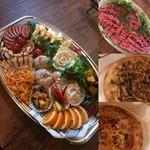 オードブル小判皿(半分ローストビーフ)+ピザマルゲリータ